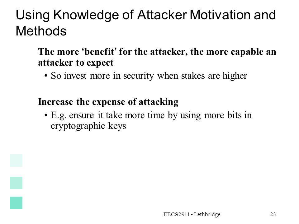 Using Knowledge of Attacker Motivation and Methods