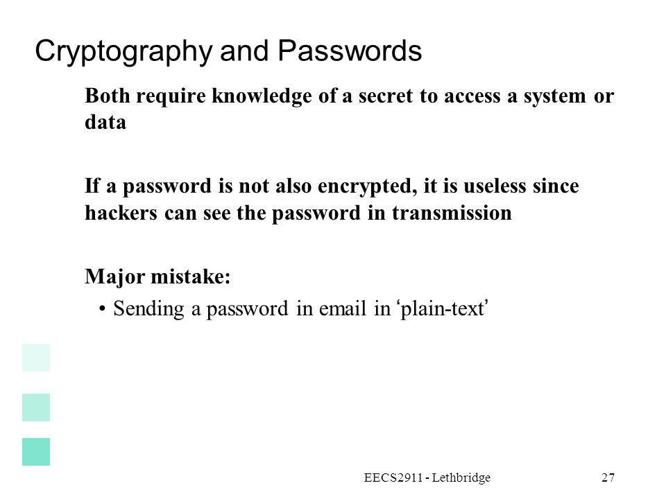 Cryptography and Passwords