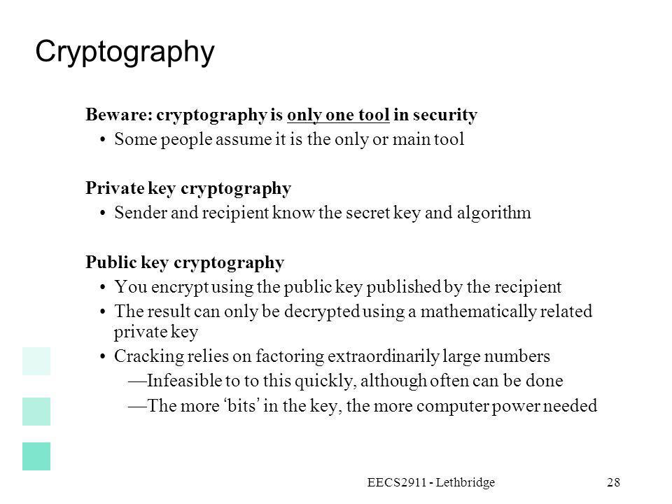 Cryptography Beware: cryptography is only one tool in security