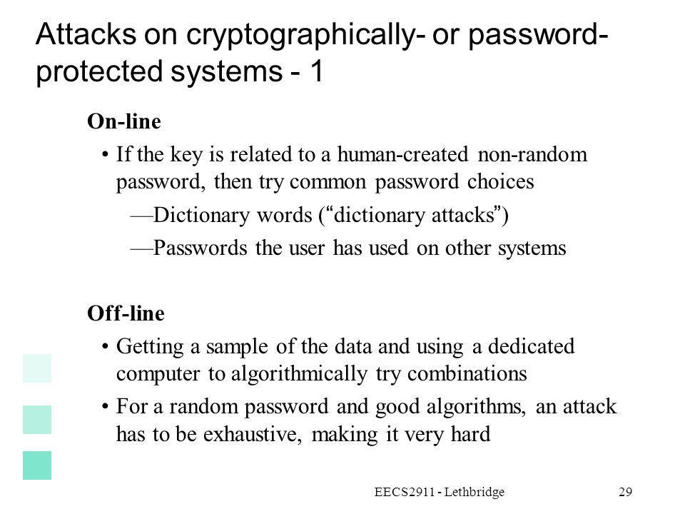 Attacks on cryptographically- or password- protected systems - 1