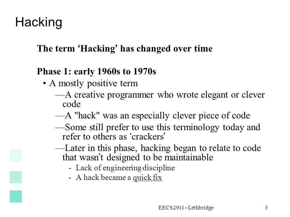 Hacking The term 'Hacking' has changed over time