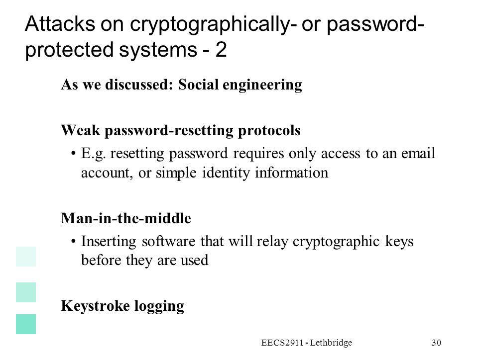 Attacks on cryptographically- or password- protected systems - 2