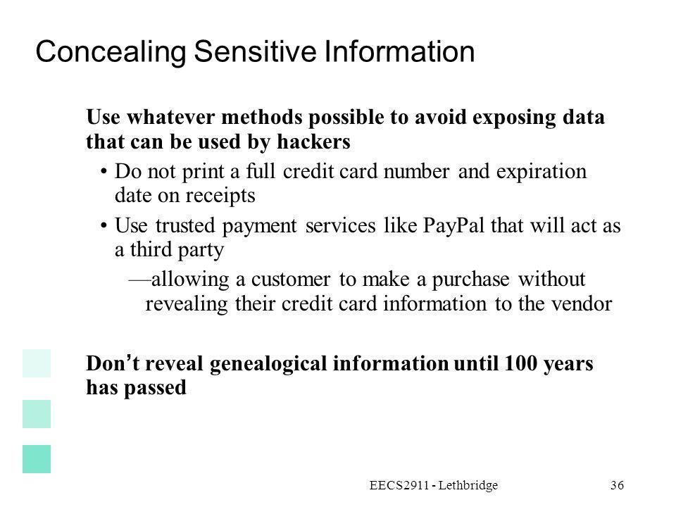 Concealing Sensitive Information