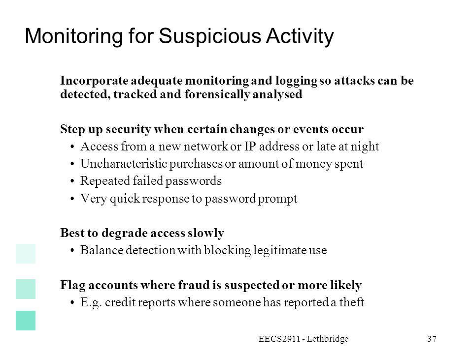 Monitoring for Suspicious Activity