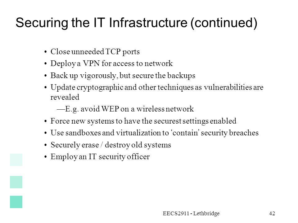 Securing the IT Infrastructure (continued)