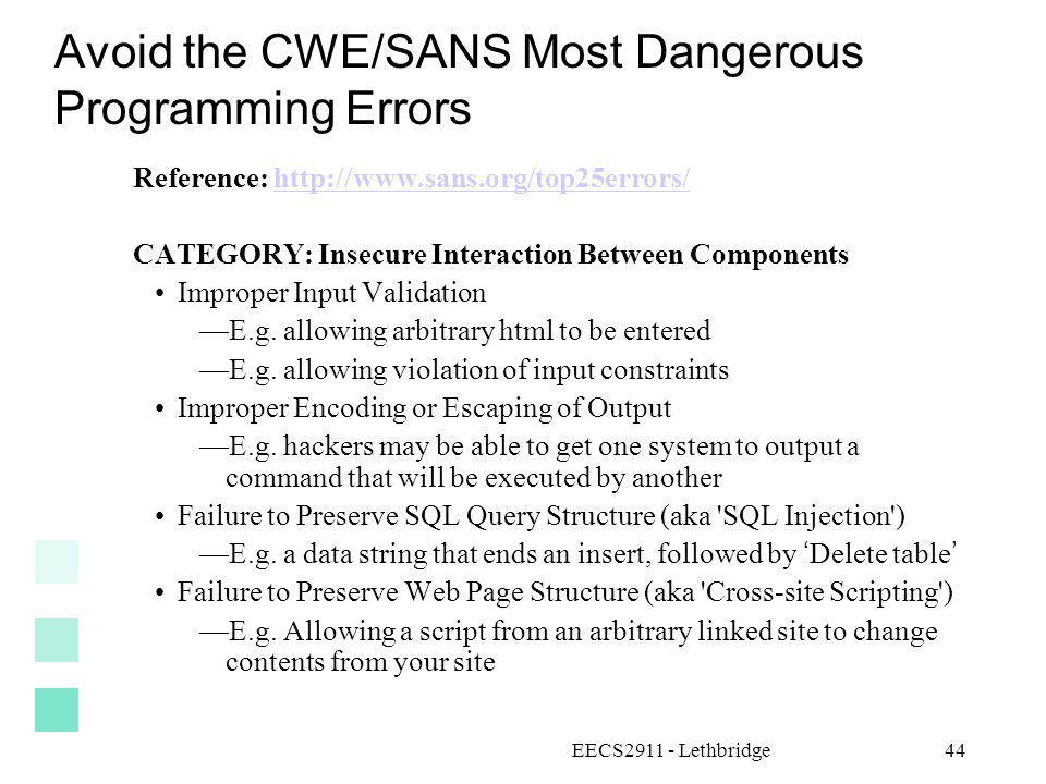 Avoid the CWE/SANS Most Dangerous Programming Errors