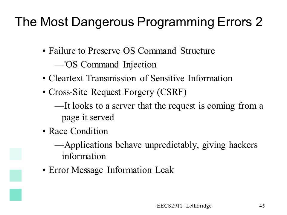 The Most Dangerous Programming Errors 2
