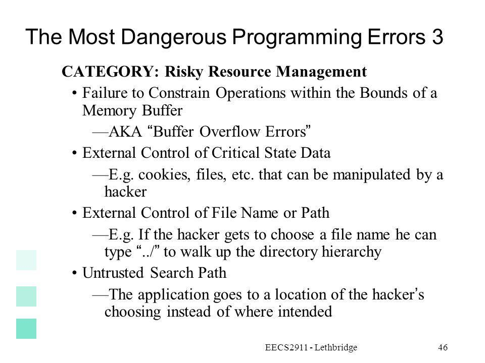 The Most Dangerous Programming Errors 3