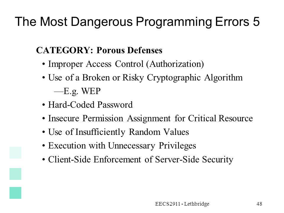The Most Dangerous Programming Errors 5
