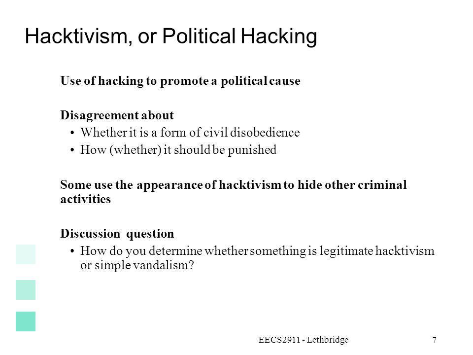 Hacktivism, or Political Hacking