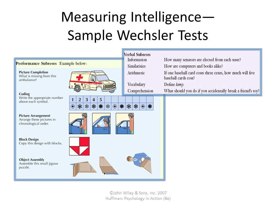 Measuring Intelligence— Sample Wechsler Tests