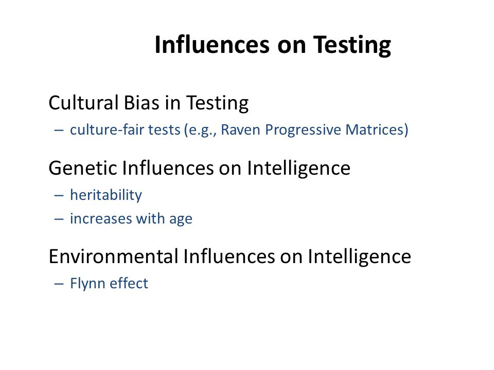 Influences on Testing Cultural Bias in Testing