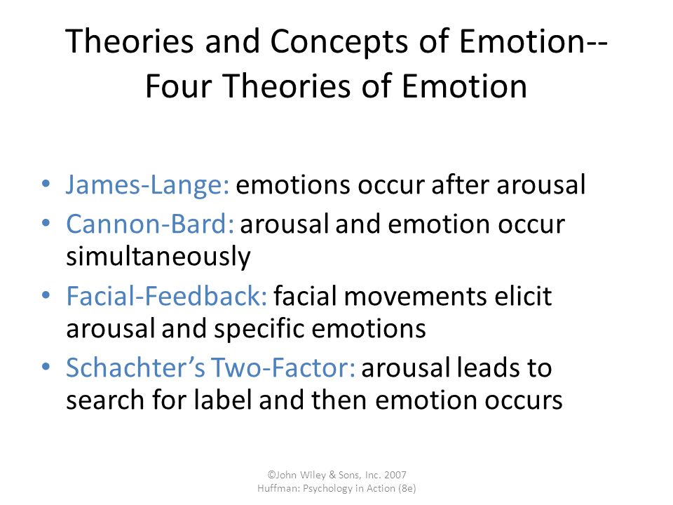 Theories and Concepts of Emotion-- Four Theories of Emotion
