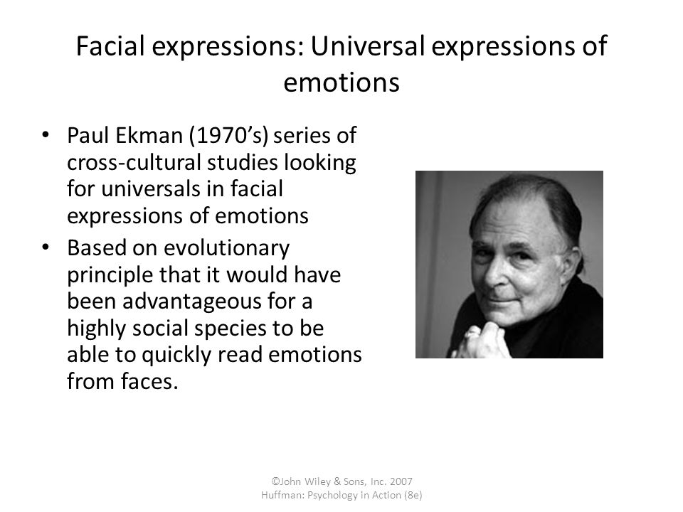 Facial expressions: Universal expressions of emotions