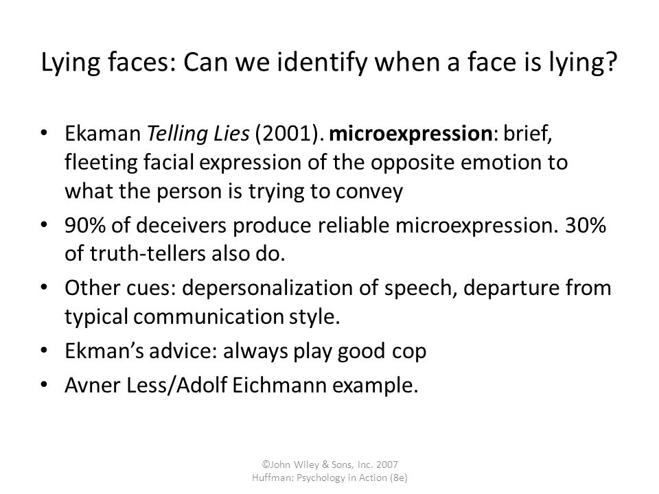 Lying faces: Can we identify when a face is lying