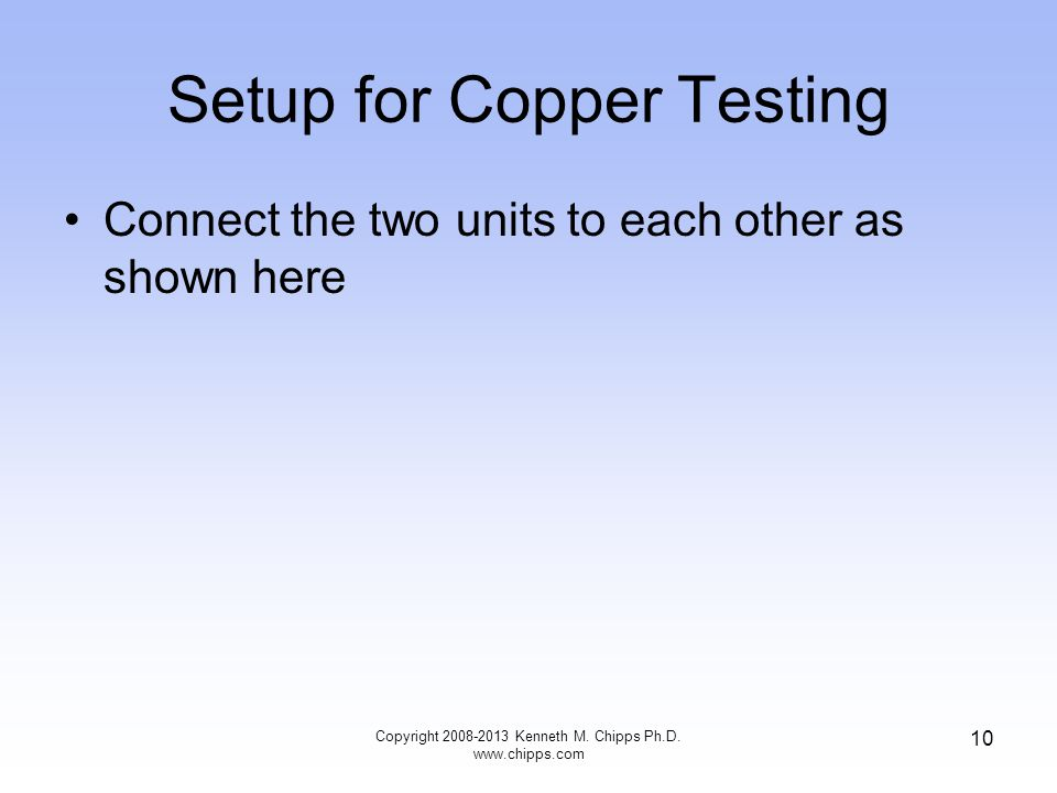 Setup for Copper Testing