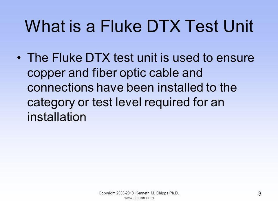 What is a Fluke DTX Test Unit