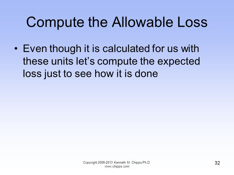 Compute the Allowable Loss