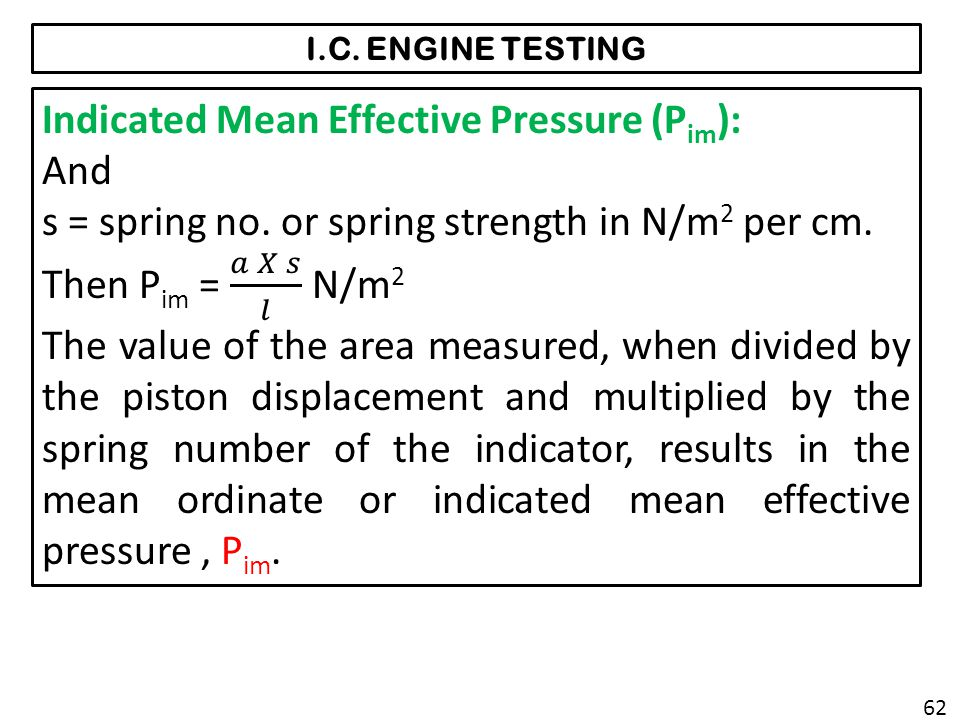 Indicated Mean Effective Pressure (Pim): And