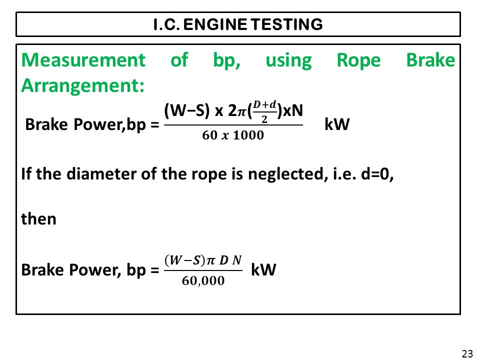 Measurement of bp, using Rope Brake Arrangement: