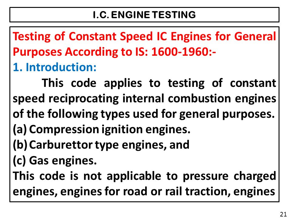 Compression ignition engines. Carburettor type engines, and