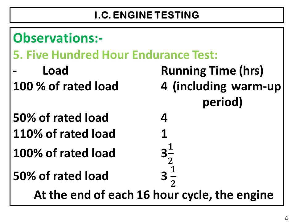Observations:- 5. Five Hundred Hour Endurance Test: