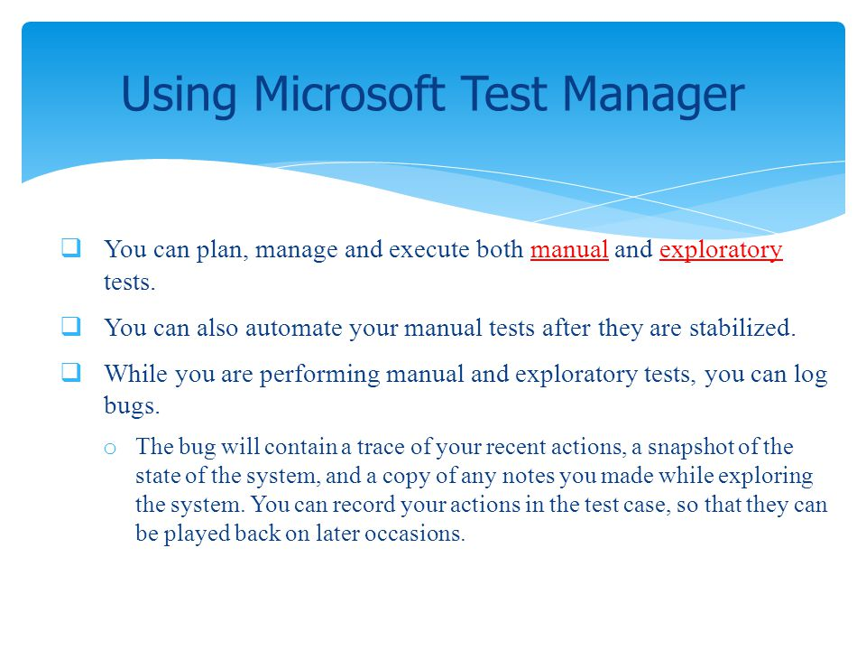 Using Microsoft Test Manager