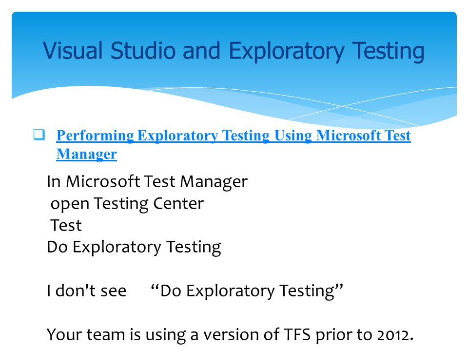 Visual Studio and Exploratory Testing