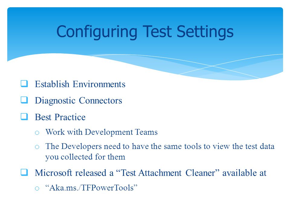 Configuring Test Settings