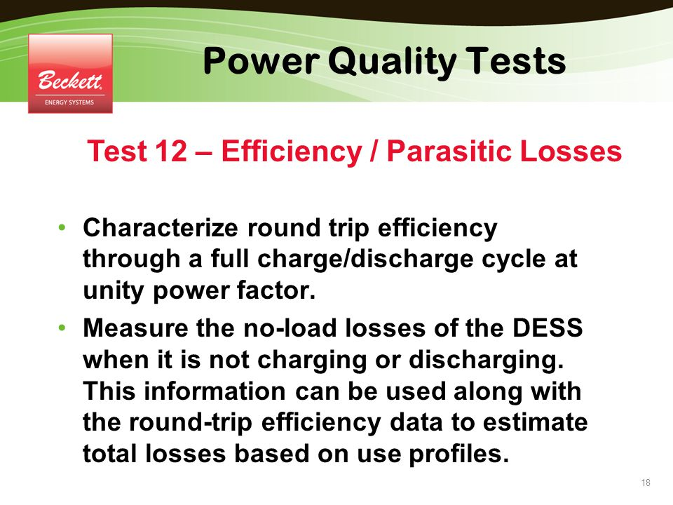 Test 12 – Efficiency / Parasitic Losses