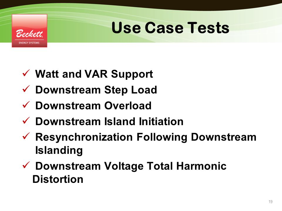 Use Case Tests Watt and VAR Support Downstream Step Load