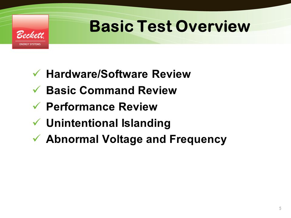 Basic Test Overview Hardware/Software Review Basic Command Review