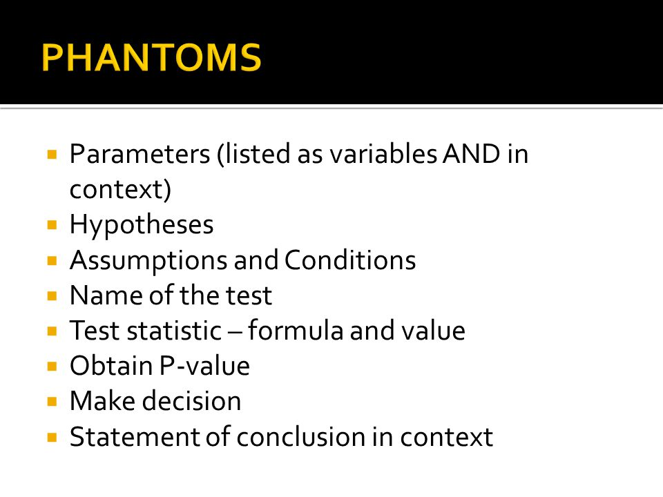 PHANTOMS Parameters (listed as variables AND in context) Hypotheses