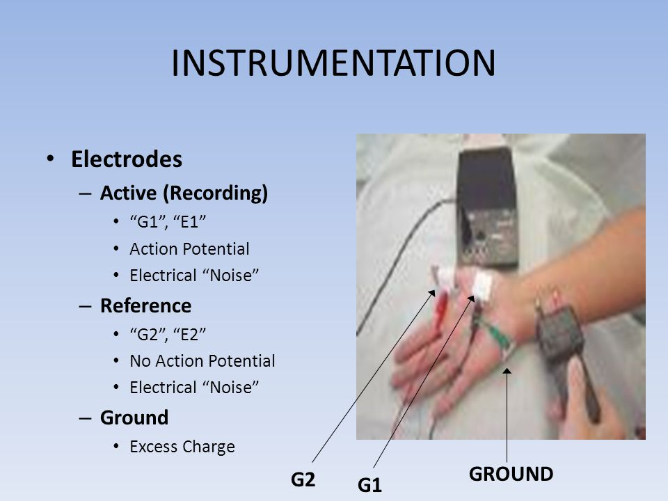INSTRUMENTATION Electrodes Active (Recording) Reference Ground GROUND