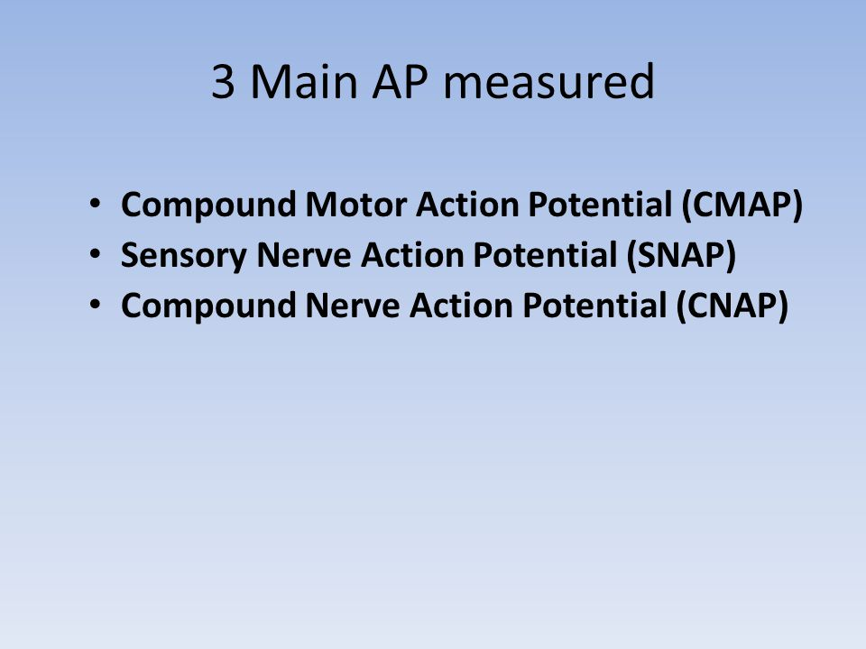 3 Main AP measured Compound Motor Action Potential (CMAP)