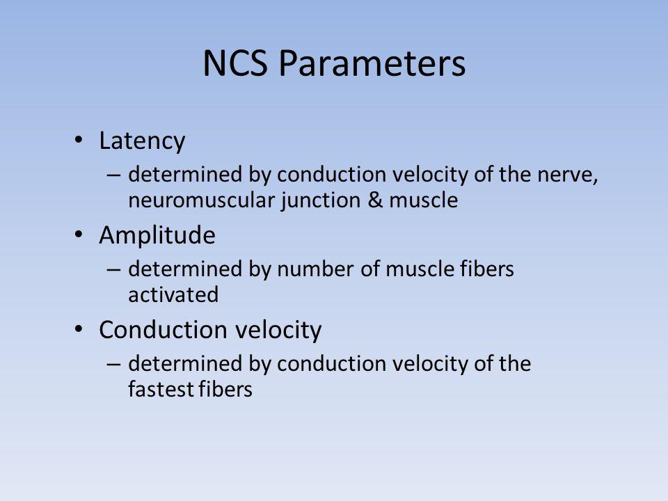 NCS Parameters Latency Amplitude Conduction velocity