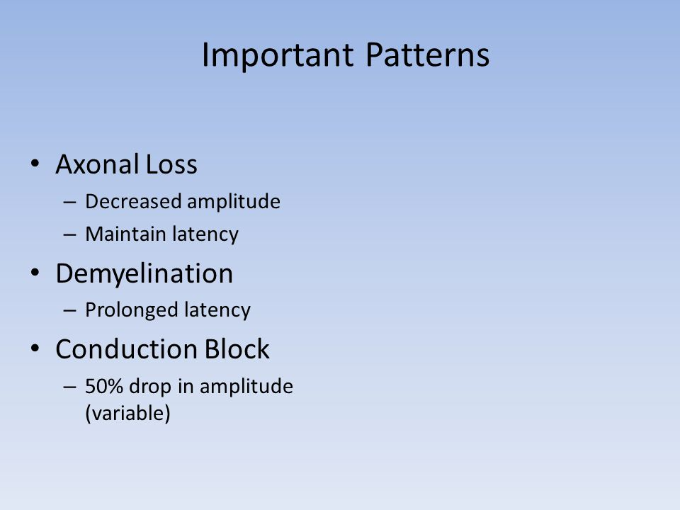 Important Patterns Axonal Loss Demyelination Conduction Block