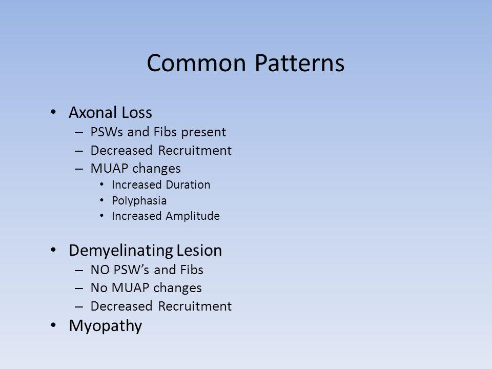 Common Patterns Axonal Loss Demyelinating Lesion Myopathy