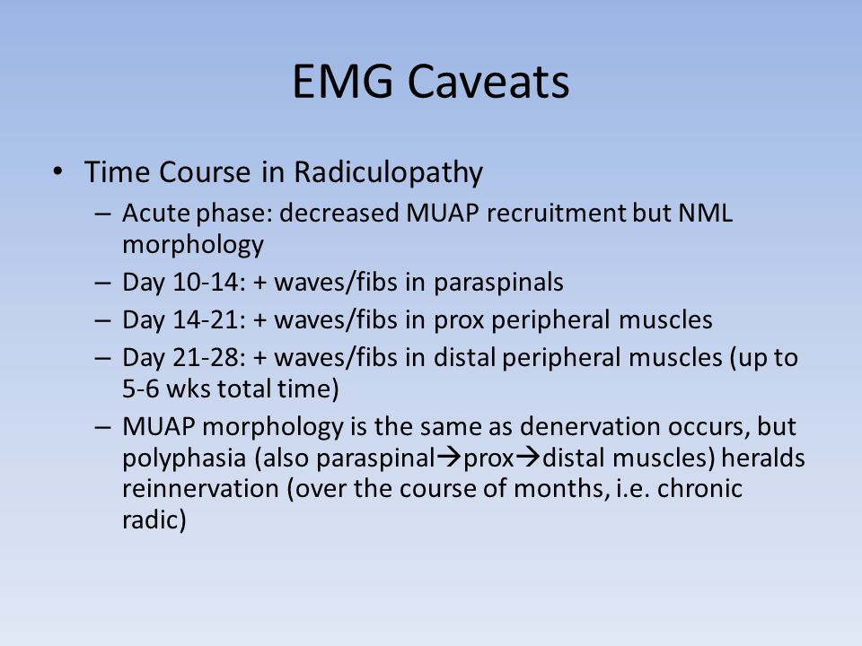 EMG Caveats Time Course in Radiculopathy