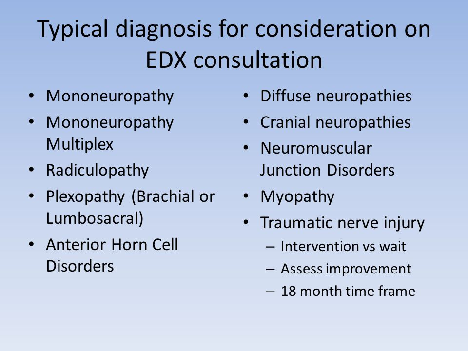 Typical diagnosis for consideration on EDX consultation