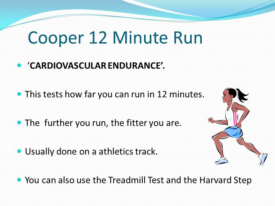 Cooper 12 Minute Run 'CARDIOVASCULAR ENDURANCE'.