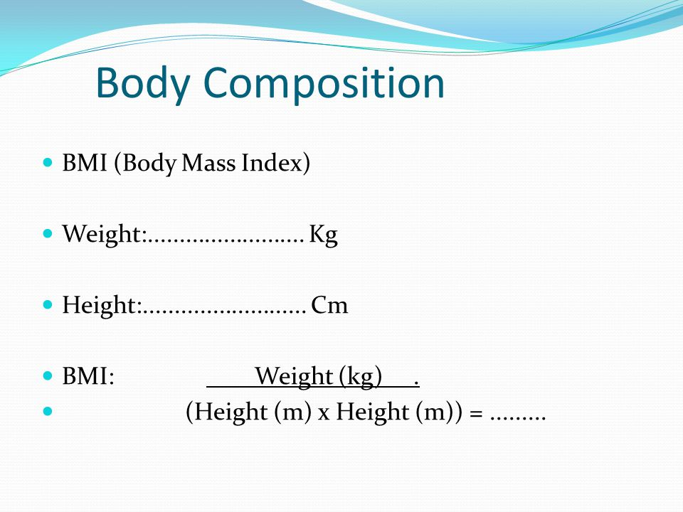 Body Composition BMI (Body Mass Index)