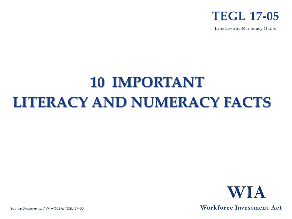 Literacy and Numeracy Facts