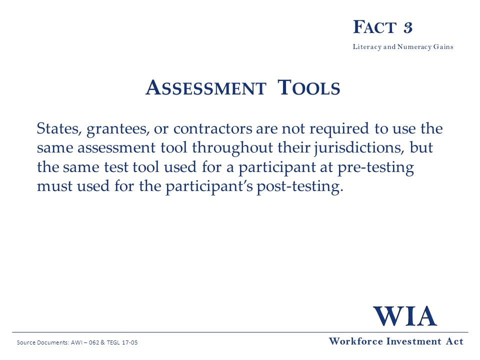 Fact 3 Assessment Tools.