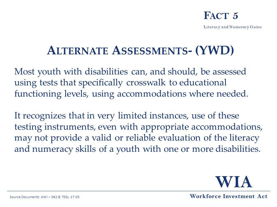 Alternate Assessments- (YWD)