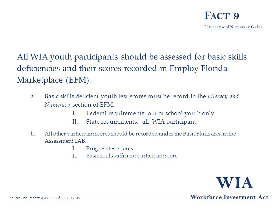 Fact 9 All WIA youth participants should be assessed for basic skills