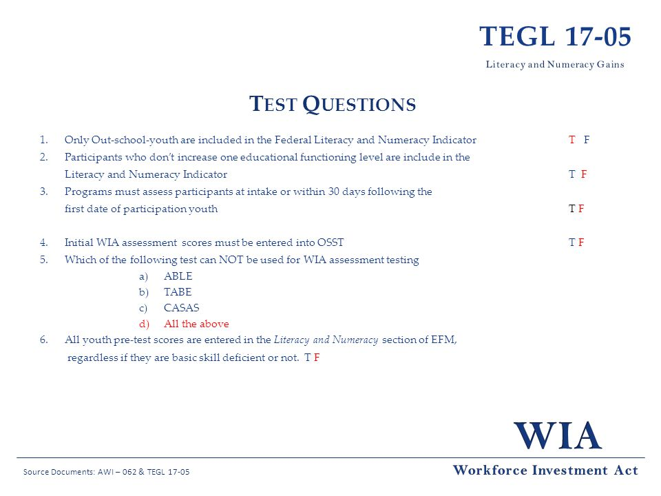 TEGL 17-05 Test Questions Workforce Investment Act