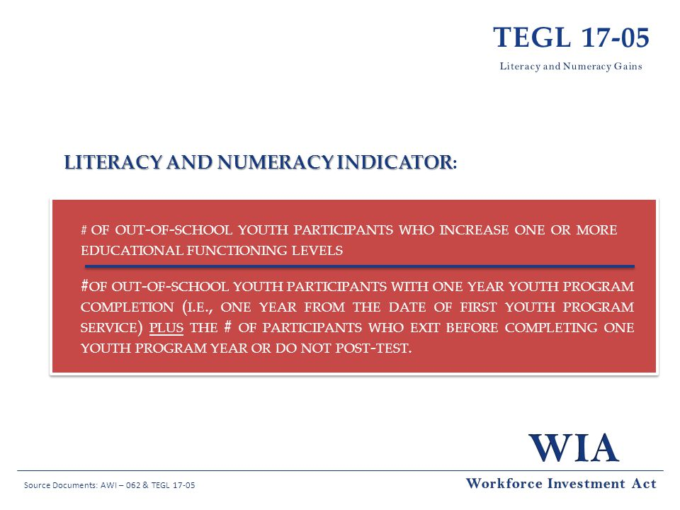 TEGL 17-05 Literacy and Numeracy Indicator: