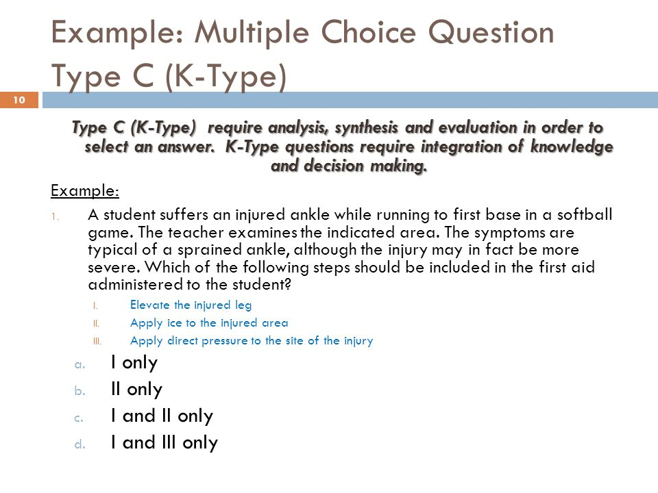 Example: Multiple Choice Question Type C (K-Type)