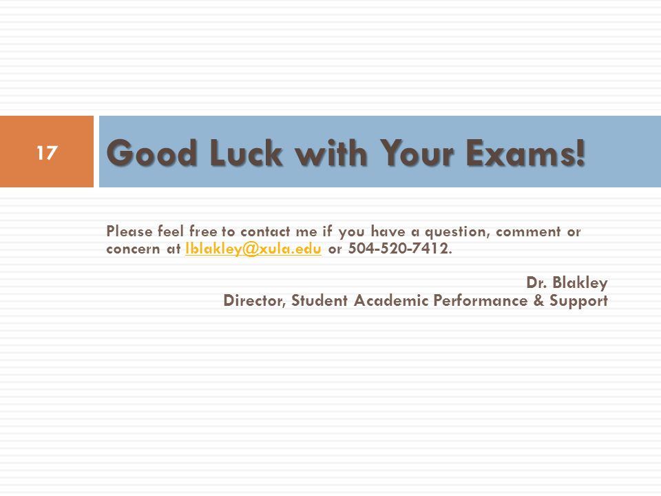 Good Luck with Your Exams!